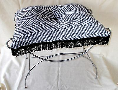 Vintage Hollywood Regency Vanity Stool, Vanity Bench With Chevron Fringed Cushio
