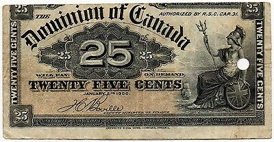 1900 Dominion of Canada - 25 Cent Bank Note (Boville) Cutting Error
