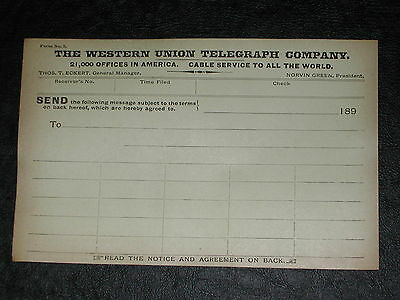 "Lot of (5) Vintage 1890's Western Union ""Blank"" Telegraph Transmission Forms."