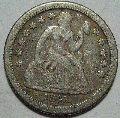 = 1841-O VF+ SEATED Dime, Nice COlor & EYE Appeal, FREE Shipping