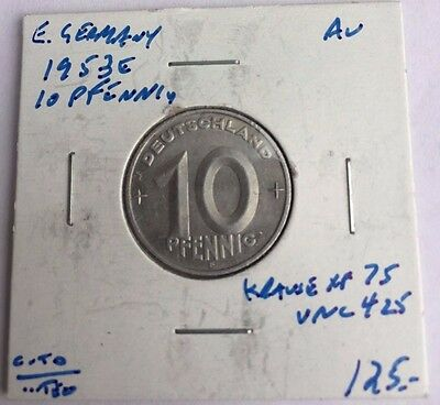 RARE East German Coins 1953E 10 Pfennig NO RESERVE