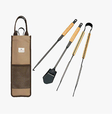 New Snow Peak Fire Tool Set With Bag Fireplace Accessories 3 Piece N-017R