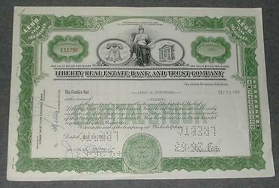"""1962-63 """"Liberty Real Estate Bank & Trust Company"""" Stock Certificate"""