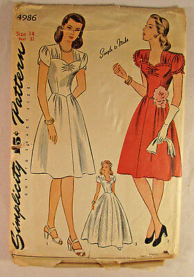 Vintage SIMPLICITY Woman 1940's Dress Pattern Day or Evening Size 14