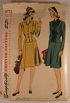 Vintage SIMPLICITY Woman 1940's Printed Suit Pattern Size 16