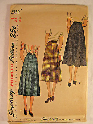 Vintage SIMPLICITY 1930's 1940's Woman Skirt Printed Sewing Pattern