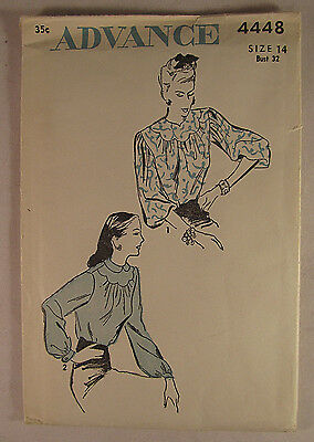 NOS Vintage ADVANCE 1930's 1940's Woman's Blouse Sewing Pattern Size 14