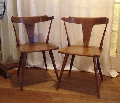 Paul McCobb T-Back - 2 Vintage 1950's Mid-Century Wooden Chairs