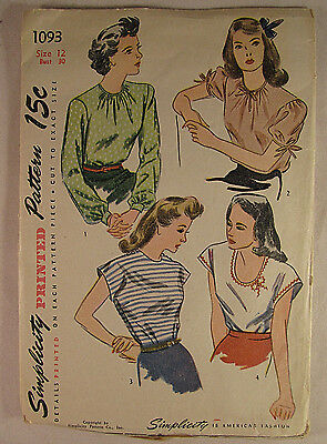 Vintage SIMPLICITY 1940's Woman's Blouse Sewing Pattern Size 12