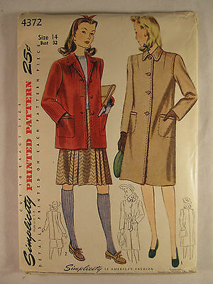 Vintage SIMPLICITY 1940's Woman's Coat Jacket Sewing Pattern Size 14