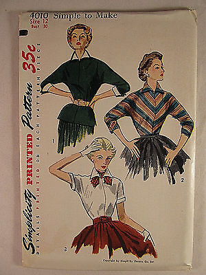 Vintage SIMPLICITY 1940's Woman's Blouse Sewing Pattern Size 12 FF