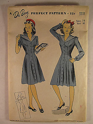 Vintage DuBarry 1940's Woman's Dress Sewing Pattern Size 14 FF