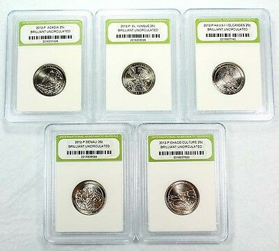 Slabbed 2012 P Brilliant Uncirculated 5 Coin National Park Quarter Set a