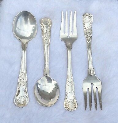 SET of 4 STERLING Plated  Soup Spoon Fork/Dessert  Reed & Barton NO MONO