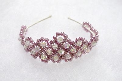Hand~Crafted Little Girls Lavender Beaded Crown Tiara~Baby Doll~New