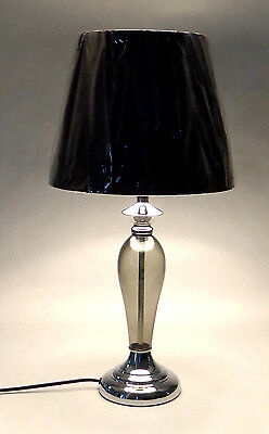 New Smoke Glass Table Lamp with Textile lamp shade Black JYK193B1