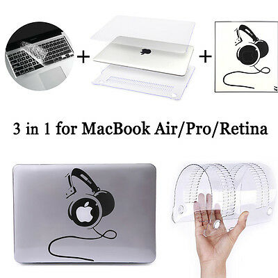 Crystal Clear Case+Keyboard Protector+Decal Sticker MacBook Air/Pro/Retina 13/15