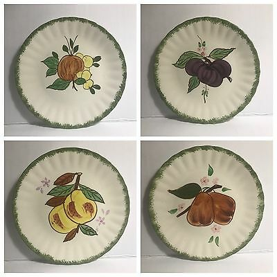 4 Salad Plates County Fair Green by Blue Ridge Southern Pottery - MINT Condition