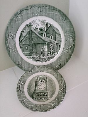 """Vintage THE OLD CURIOSITY SHOP LOT OF 2 MIXED 10"""" DINNER AND 6-1/4"""" BREAD PLATE"""