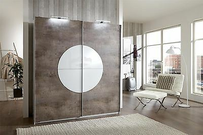 German Round Up White Glass Concrete 2 Door 180cm Sliding Slider Door Wardrobe