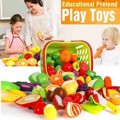 Kids Pretend Role Play Kitchen Vegetable Fruit Food Toy Cutting Set Child Gift