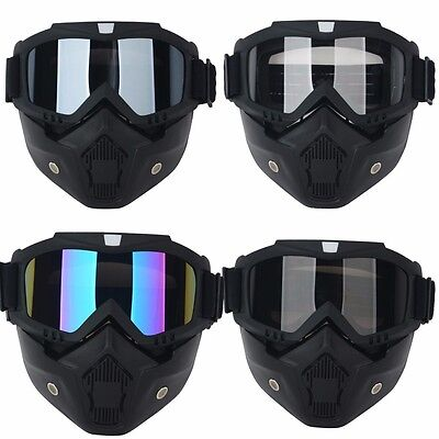 Motorcycle Bike Detachable Modular Riding Helmet Goggles Shield Face Mask