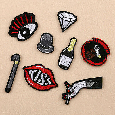 8Stk Stickerei Patch Applique Annähen Patch Büste Kleid Komisch Kunst Craft DIY