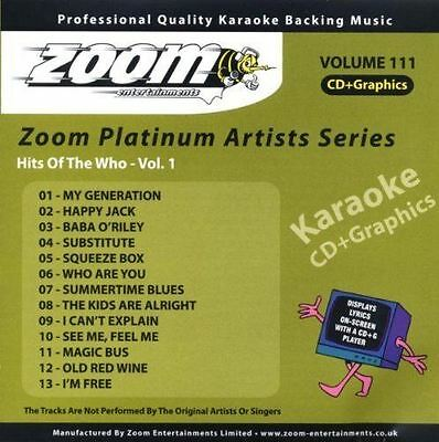 Zoom Karaoke Platinum Artists Series Volume 111 Hits Of The Who Vol.1 CD + G New