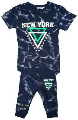 Boys New York Stars Print T-Shirt Top & Shorts Set with Braces 4 to 14 Years