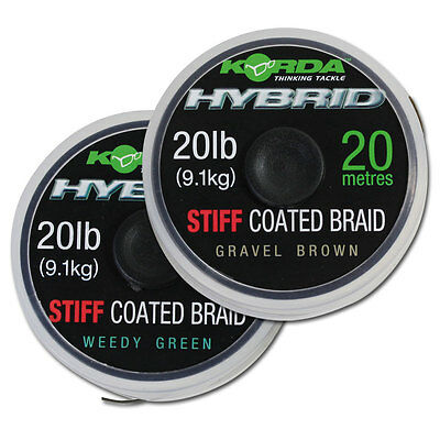 Korda NEW Hybrid Stiff Carp Fishing Coated Braid Hooklink 20lb 20m *Both Types*
