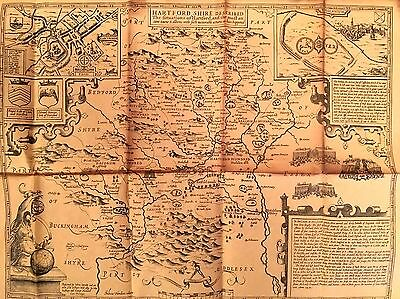 Old Map Of Hertfordshire  Unknown Date But Originally  By John Speed 1610