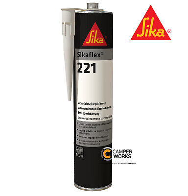 SIKAFLEX 221 WHITE Sealant | Caravan Motorhome Bathroom Multipurpose Date 02/20