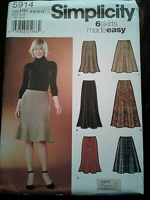 Sewing Pattern Simplicity 5914 Easy Flared Skirt Uncut Complete SZ 6-12
