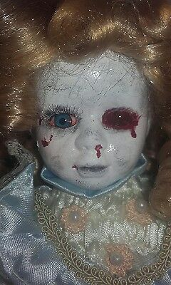 Dead doll Ghost girl Goth Gothic creepy Scary Repainted prop horror  porcelian