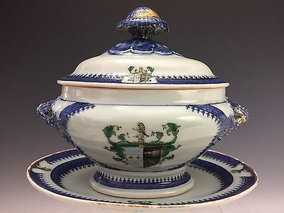 Antique Chinese Armorial Polychrome Porcelain Sauce Tureen Arms of Oliphant