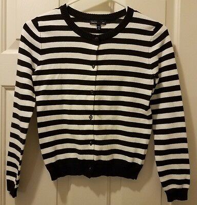 Gap Kids Girls Black and White Striped Cardigan Sweater sz 10