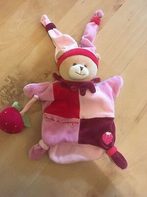 Doudou Et Compagnie Pink Bear And Strawberry Puppet Comforter Soft Toy Blankie