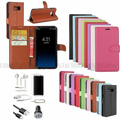 Wallet Leather Case Cover Earphones Charger Accessory For Samsung Galaxy S8 S8+