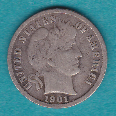 1901-S VG++ KEY DATE Silver Barber Dime