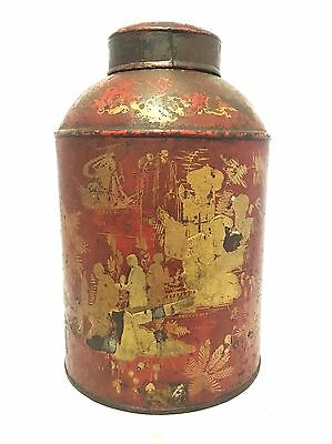 Antique Toleware Tea Tin Canister Painted Red Chinoiserie Shop Display
