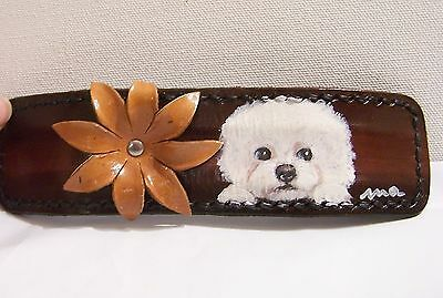 hand painted Bichon Frise genuine leather bracelet bendable one size fits all