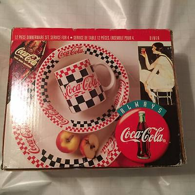 """1996 Coca Cola 12 Piece Dinnerware Set """"Diner"""" - New In Box- Never Used"""