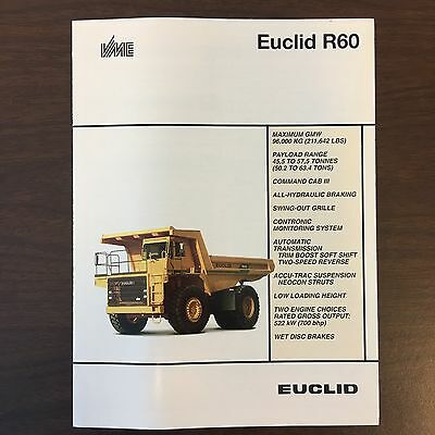 EUCLID VME R60 - Vintage Truck Rear Dump Haul Equipment Brochure Specs 1993