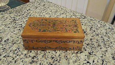 Handmade - Carved - Etched - Painted Jewelry Trinket Box Wood Folk Art