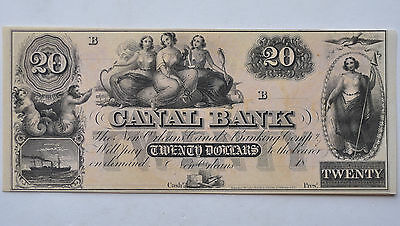 Undated $20 Canal Bank Of New Orleans, Louisiana Twenty Dollar Unsigned Note