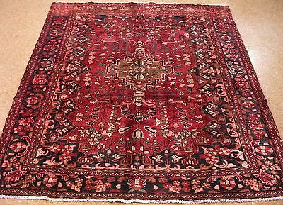 PERSIAN LILIHAN Tribal Hand Knotted Wool RED BLACK PINK BLUE Oriental Rug 6 x 7
