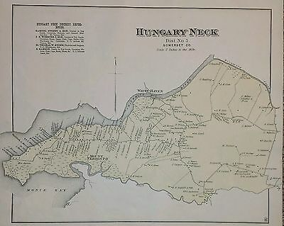 Antique 1877 Map Hungary Neck and Fairmount Somerset Co. Maryland