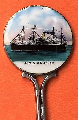 Steamship R.m.s. Arabic Ship Sterling Silver & Enamel Souvenir Spoon