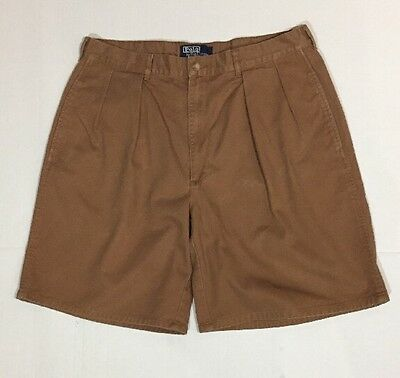 Polo Ralph Lauren Men's Size 36 Brown Pleated 100% Cotton Casual Shorts