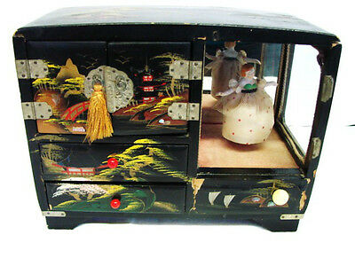 Antique Japanese Lacquer & Mother of Pearl Jewelry Music Box w/ Porcelain Dancer